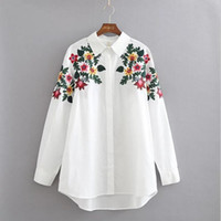 Wholesale Long Blouse Neck Designs - 2017 New Fashion Design Floral Embroidery Turn-down Collar Shirt Casual Long Sleeve Vintage Women Flowers Tops Workwear White Cotton Blouse