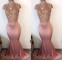 Wholesale Sexy Bateau Mermaid Gold Dress - 2017 Elegant Mermaid Prom Party Dresses High Neck Pearls Sleeveless Lace-Appliques Cutaway Side Crystal Beaded Evening Gowns Custom Made
