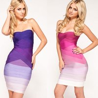 Wholesale Strapless Cotton Purple Dress - Fashion sexy rainbow tube top slim waist bandage dress contrast color wrapped chest gradient strapless bodycon dress sheath dresses