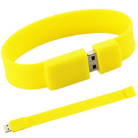 Wholesale Usb Drives Bracelets - 100% Brand New Fashion Silicone Bracelet 128GB 16GB 32GB 64GB USB 2.0 Flash Memory Stick Pen Drive Thumb U Disk
