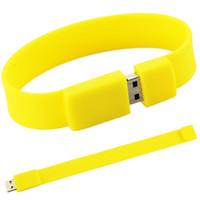 pulseiras de movimentação usb venda por atacado-100% brand new moda pulseira de silicone 128 gb 16 gb 32 gb 64 gb usb 2.0 memória flash memory stick pen drive polegar u disco