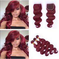 Wholesale red wine body wave hair resale online - Brazilian Burgundy Body Wave Hair With Closure Free Part J Wine Red Lace Closure With Human Hair Bundles Red Brazilian Virgin Hair