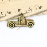 Wholesale Tractor Charms - Wholesale- 20pcs Antique Bronze Plated Vintage Car Tractor Charms Pendants for Jewelry Making DIY Handmade Craft 15x26mm
