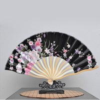 Wholesale Hand Hold Fans - 21cm Portable Japanese Style Satin Fabric Ladies Hand Held Folding Fan Crooked Bamboo Fan Party Favor ZA4939