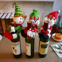 Wholesale Table Cloth Wholesalers - NEW XMAS wine bottle holder Red Wine Bottle Cover Bags Hug Santa Claus Snowman Dinner Table Decoration Home Christmas Party Decors IC554