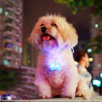 Wholesale Dog Leashes Collars Bling - Doggy Bone Mini LED Dog necklace Light Bling Shiny Flashing Night Glow Luminous Pet Pendant Puppy Collar Leash ID Card