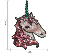 Wholesale Large Clothing Patches - 2017 New Boutique Sequins 16x28cm Unicorn Horse Large Cloth Patch Unicorn Horse Sequins DIY Sequins For Clothes Tshirt Dress In Stock