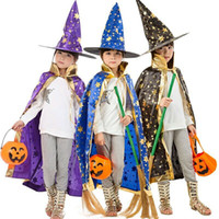 Wholesale Korean Costumes For Kids - Halloween Child Costume Korean Cloak Cape Six Star Magician Cloak Magic Halloween Costume For Kids Cloak+ Hat Free Shipping Wholesale