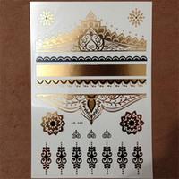 Wholesale tattoos lace designs - Wholesale- 1PC Hot Flash Metallic Waterproof Temporary Tattoo Gold Silver Men Women Henna Lace Hearts Royal Design Tattoo Sticker