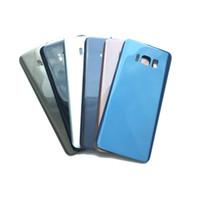 задний корпус samsung оптовых-Корпус среднего шасси крышка батарейного отсека задняя дверь для Samsung Galaxy S8 G950 S8 Plus G955 черный синий золотой серый с клейкой наклейкой