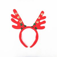 Wholesale Wholesale Antler Headbands - Hottest selling Christmas decorations Christmas red antlers Santa Claus rides head buckle With bells antlers Headbands free shipping JF-736