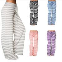 62ae829489 Mujer Yoga Sport rayas sueltas pantalones de pierna ancha Stretch Leggings  Pantalones largos rayas Flare Pants suelta Bloomers OOA3217