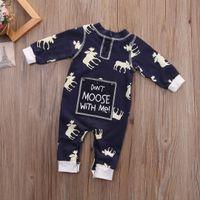 tulum uzun kollu kış toptan satış-Çocuk Tulum Ren Geyiği Pijama Donanma Kış giysileri Noel Hediyesi Bebek Oğlan Kız Sevimli Uzun Kollu Moose Romper Pamuk Bodysuit 0-18 M Kıyafet