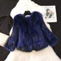 Wholesale New Raccoon Coat - New Winter fashion women's full pelt real natural raccoon fur long sleeve gradient color short coat parka casacos S-3XL