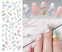 Wholesale fingernail decals stickers - Wholesale- DS217 DIY Nail Design Water Transfer Nails Art Sticker Cartoon Ocean Shell Nail Wraps Sticker Watermark Fingernails Decals