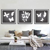 Wholesale Art Black Poster Print - Canvas Painting Black White Butterfly Decoration Wall Art Painting Canvas Poster Wall Pictures Living Room Home Decor