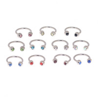 Wholesale horseshoe ring stainless steel - 10 Pcs Rhinestone 18G Stainless Steel Circular Barbells Horseshoe Fake Nose Ring Lip Eyebrow Ring Silver Body Piercing 10 Colors