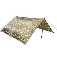 wasserdichte zelt leinwand großhandel-Ultraleicht Camping Zelt Markise Shelter Auto bedeckt wasserdichte Markise Sonnenschirm Familie Camping Nylon Camouflage Canvas