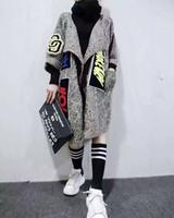 ingrosso cappotti di moda maglia donna-All'ingrosso-2016 nuove donne individualità Appliques lungo cardigan moda maglione lavorato a maglia cappotto maglione scialle e poncho da donna