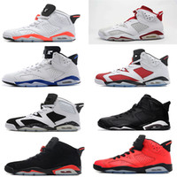 Wholesale Carmine Blue - 2017 air retro 6 mens Basketball shoes Carmine Black Cat Infrared sports blue Maroon Olympic Alternate Hare Oreo Chrome Angry bull sneakers