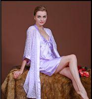 Wholesale Satin Night Suits - Promotion!2 piece Women's Robe Gown Set Fashion Faux Silky smooth Robe Femme Satin Sleepwear Home Suit Night Sleep Bathrobe Set Uniform size