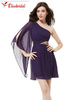 Wholesale T Shirts Shoulder Pads - -line Cocktail Dresses Padded Chiffon Sequins One Shoulder Summer Style Party Dresses