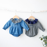 Wholesale Cat Baby Clothing - INS new arrivals autumn baby kids climbing romper long sleeve Plaid print cat design ruffle collar girl kids romper kid clothing romper