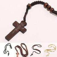 ingrosso perline di legno di collana-All'ingrosso-Retro Style Uomo Donna cattolico Cristo Rosario in legno Bead Croce Ciondolo intrecciato Collana corda 8mm