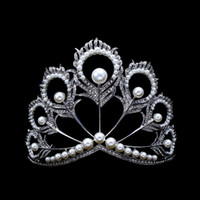 Wholesale Quinceanera Tiaras Crowns - Chic Crystal Tiara Vintage Peacock Bridal Hair Accessories For Wedding Quinceanera Tiaras And Crowns Pageant Pearls Headband