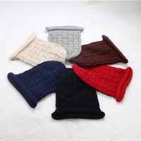 Wholesale Types Beanies Hats - 1PC New Arrivals Fashionable Casual Bar Lattice Type Knitting Cotton Cap Women Warm Comfortable Caps Keep Ear Warm Hats