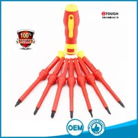 Wholesale Household Tool Set Wholesale - 7 in 1 screwdriver set single blade press button to change blade insulated high voltage for multifuction household repair tools
