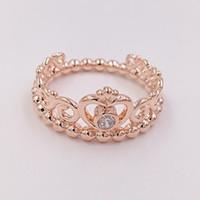anéis estilo coroa venda por atacado-Rose banhado a ouro 925 Sterling Silver Ring My Princess Tiara Estilo Europeu Pandora charme jóias anel coroa presente 180880CZ