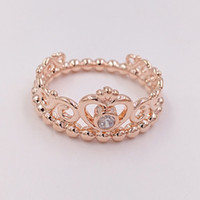 Wholesale Red White Wedding Tiaras - Rose Gold Plated & 925 Sterling Silver Ring My Princess Tiara European Pandora Style Jewelry Charm Crown Ring Gift 180880CZ