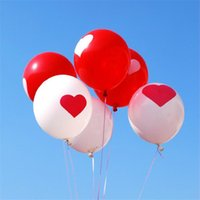 Wholesale Hot Balloon Heart - Hot sale 12 inch wedding decoration latex free balloon romantic sweet heart white red mixcolor marriage decorations balloons