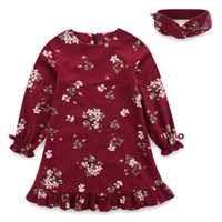 Wholesale Pleated Headband - Everweekend Girls Floral Autumn Dress with Headbands Ruffles Vintage Red and Blue Color Long Sleeve Dress Christmas Dress
