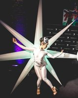 Wholesale Inflatable Light Stars - 2 meter diameter beautiful white lighting Inflatable star costume for stage decorations party in the Israel