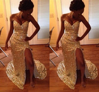 Wholesale Strapless Sparkly Prom Dresses - 2017 New Sparkly Gold Sequins Mermaid Prom Dresses Sexy Sweetheart Sleeveless Side Split Long African Evening Formal Party Gowns