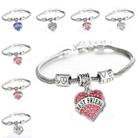 Wholesale heart charms best friend resale online - 45 types Diamond Love Heart Bracelet Mom Aunt Daughter Grandma Believe Hope best friends Crystal Bracelet Will and Sandy Drop Ship