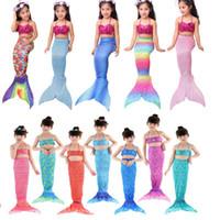 Wholesale Little Girls Mermaid Costumes - 2017 Cosplay Kids Girls Mermaid Tail Suit With Monofin Little Mermaid Tails Children Swimmable Swimsuit With Bikini Fancy Dress