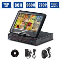 uk-überwachung großhandel-H.264 10 Zoll LCD 8 Kanal AHD DVR CCTV Kit Videoüberwachung System Combo Video Monitor Aufnahme - Schwarz
