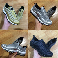 Wholesale Bullet Boxes - With box 2017 high quality Max 97 OG Metallic Gold Silver Bullet Running Shoes Men and Women Athletic Sport Trainers