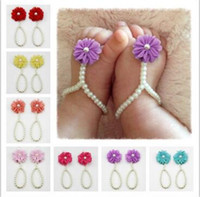 Wholesale Newborn Barefoot Sandals - Newborn Baby Photography Props Shoes Fashion Chiffon Flower Pearl Barefoot Toddler Foot Flower Beach Sandals Anklet Chain Jewelry
