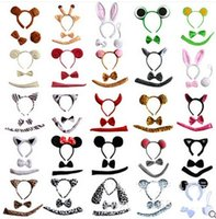 Wholesale Ear Tail Costume - Halloween XMAS Party Adult Children Animal Ear Hairband Headband Tail Bow Necktie Cartoon Costume Cosplay Accessory stage performance props