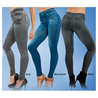 Wholesale Women Stretch Jeans Leggings - Wholesale- NEW Womens Fake Denim Jeans Sexy Skinny Leggings Jeggings High Waist Stretch Pants Trousers