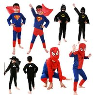 5 colori Spiderman Superman Batman Zorro Costume Halloween costumi Kits Kids BABY manica lunga superhero costume cosplay set