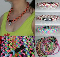 Wholesale Sports Necklace For Free - New titanium braided 3 ropes tornado necklaces for SPORTS football baseball Free Shipping