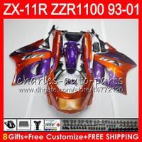 Wholesale zx11 fairings - 8Gifts For KAWASAKI NINJA ZX11 ZX11R 93 01 94 95 96 97 ZZR 1100 22NO23 Orange purple ZZR1100 ZX-11R ZX-11 1993 1994 1995 1996 1997 Fairing