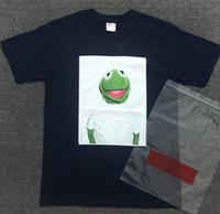 Wholesale Men S Shirt Box - 2017 summer Brand hip hop casual kanye west KERMIT BOX LOGO TEE Sesame Street Cartoon Frog cotton men and women short sleeve T shirt men
