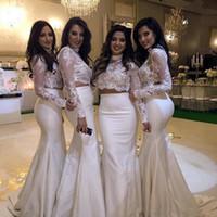Wholesale Tarik Dress Red - White Mermaid Bridesmaid Dresses 2017 Elegant High Neck Long Sleeves Tarik Two Pieces Prom Dresses Lace Satin Backless Evening Dresses