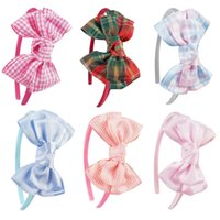 Wholesale Headband Covers - 18Pcs lot Plaid Grosgrain Ribbon Hair Bows Ribbon Covered Hairbands High Quality Girls Hairbands Ribbon Band 6 Colors